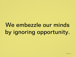 We embezzle our minds by ignoring opportunity.