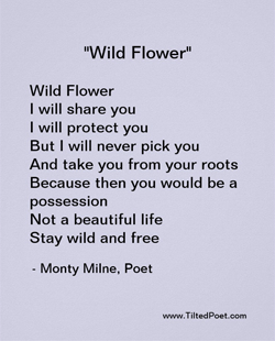 Wild Flower. I will share you. I will protect you. But I will never pick you, and take you from your roots. Because then you would be a possession, not a beautiful life. Stay wild and free.