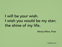 I will be your wish; I wish you would be my star; the shine of my life.